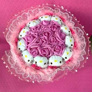 Hello Kitty Flower Bouquet of Pink Roses for Valentines Day (Delivery can be arranged)