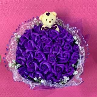 Purple Violet Flower Bouquet of 34 Roses with Teddy Bear for Valentines Day