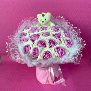 Pink Violet Flower Bouquet of 21 Roses with Teddy Bear for Valentines Day