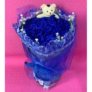 Crystal Blue Purple Violet Flower Bouquet of 34 Roses with Teddy Bear for Valentines Day (Delivery can arrange)