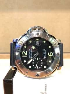 Pre Owned Panerai Luminor Submersible Pam 024 Black Dial Automatic Steel Casing Rubber