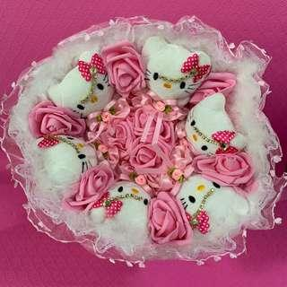 Hello Kitty with Tiara Valentine Day Flower Bouquet of Pink Roses (delivery available)