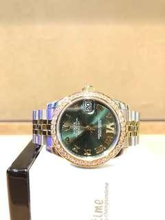 """Pre Owned Rolex Oyster Datejust 178383 Olive Green """"IV"""" Dial Automatic Steel Casing Bracelet"""