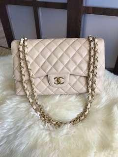 730c735ce0a192 Like new Chanel Jumbo Classic Double Flap Caviar Beige With Ghw