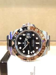 """Pre Owned Rolex Oyster Gmt Master II 126711CHNR """"Rootbeer"""" Black Dial Automatic Steel Casing Bracelet"""
