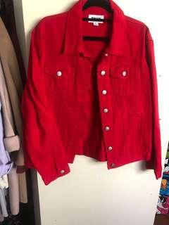Red denim jacket from Princess Polly