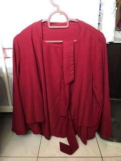 Red kimono blouse