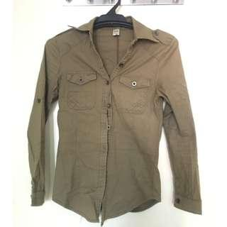 Olive Green Fitted Long Sleeve Shirt