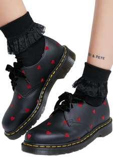 [LF] Dr Martens X Lazy Oaf 1461 Classic Low Cut Flats Leather Black Boots Shoes