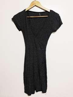 Black & White Striped Dress with Plunging Neckline