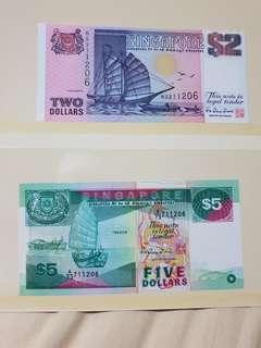 1989/90 ND issue SINGAPORE $2 & $5 Ship Series *GEM UNC PAIR*