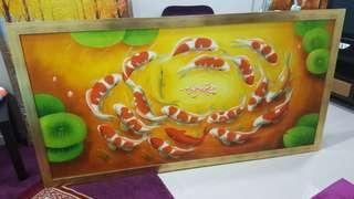 Oil Painting with custom frame big size feng shui koi