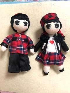 手作布娃娃 紅黑格仔衫情侶公仔