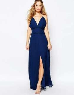 Jarlo V Front Maxi Dress with Frill Detail and Center Split