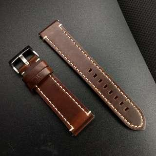 22mm Genuine Thick Brown Leather Strap