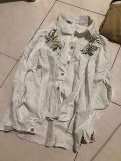 white floral embroidery blouse