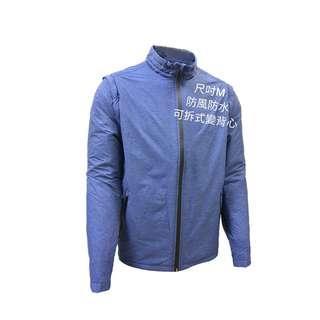 🚚 (男)蓄熱絨刷毛可拆袖立領外套-藍色