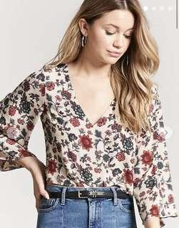 F21 Floral Cross Back Top