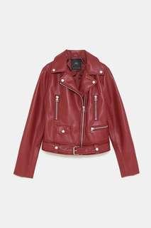 Zara Burgundy Red Faux Leather Biker Jacket