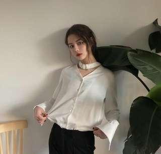 White Choker Collar Blouse