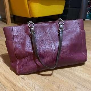 Coach leather bag - maroon / magenta / purple