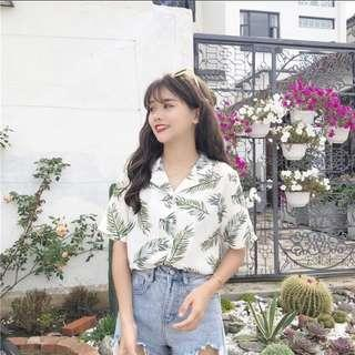 [PO] cute white leafy blouse top