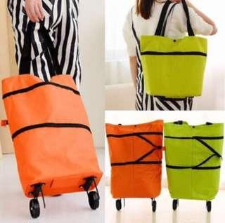 Foldable Tug Shopping Bag 2 In 1 Extended with Foldable Wheels