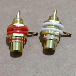 Gold Plated RCA Audio Jack Connector Panel Mount