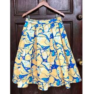 Yellow Patterned Skirt