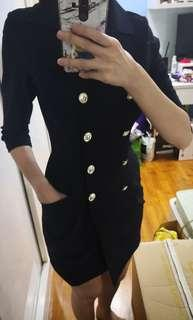 Navy blue military three quarter sleeve dress