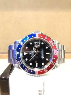 """Pre Owned Rolex Oyster Gmt Master II 16710 """"Pepsi Stick Dial"""" Black Dial Automatic Steel Casing Bracelet"""