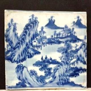 Antique Chinese Export Porcelain Blue and White Tile 19ct 清末民初出口瓷青花山水瓷板畫