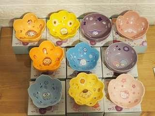 (共13款)  全新 7 11 sanrio 花雨 花語 花形陶瓷碗 全套 10款  + 全新未開盒 特別版 花形陶瓷碟 全套 3款