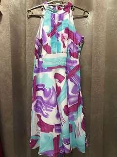 Classics at SM Flowy Pink Violet Blue White Colorful Dress