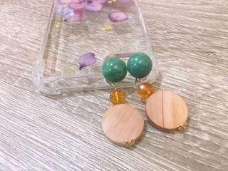 🚚 藍綠木調耳環