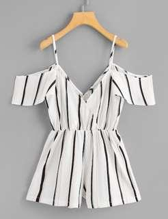 V neck cold shoulder striped romper/playsuit