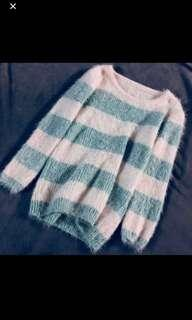 mint striped mohair soft pullover
