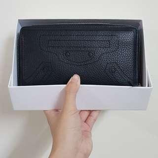 Balenciaga Blackout Continental Wallet (Black) leather
