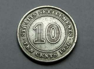 1926 Straits Settlements 10 Cent Silver Coin