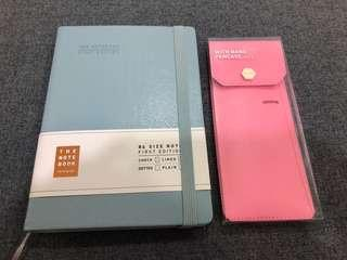 Korean imported B6 sized notebook with free band pencase