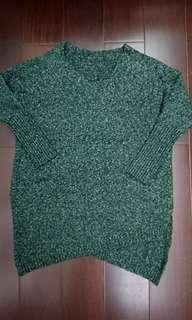 🚚 暗綠色下襬設計長版厚毛衣