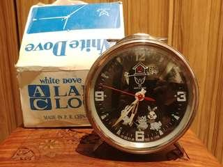 Vintage Windup Wind-up Alarm Clock White Dove Rabbit NOS