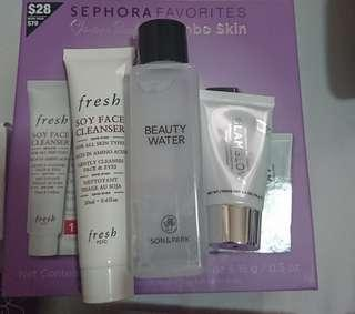 Sephora Skincare Bundle - Fresh Soy Cleanser, Glamglow Supermud Clearing Treatment, Son & Park Beauty Water