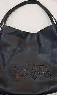 COACH 35344 EMBOSSED HORSE& CARRIAGE EDIE SHOULDER BAG IN LEATHER black