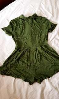 Olive green button-front shirt romper