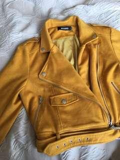 Missguided Suede Biker Jacket in Mustard Yellow 帥氣絨質外套 芥末黃