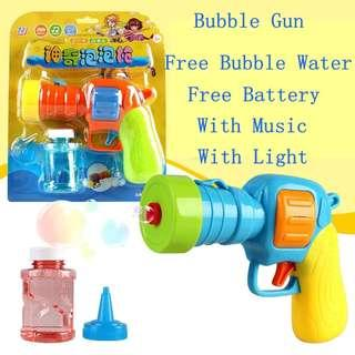 Automatic Electric Gun Shaped Soap Bubble Machine Bubble Gun Blowing Bubbles Toy Machine With Light And Music