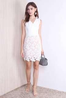 BNWT CLAUDINE LACE CROCHET OVERLAY DRESS WHITE and