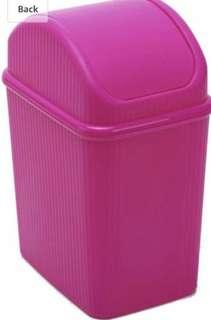 Pink mini trash can with swinging top