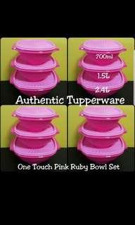 Instock Authentic Tupperware  One Touch Pink Ruby Bowl Set (3) 700ml, 1.5L & 2.4L  《Selling At $35/Set》 pink
